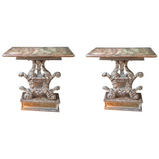 Pair of Wonderful Antique Venetian Carved Wood Consoles For Sale