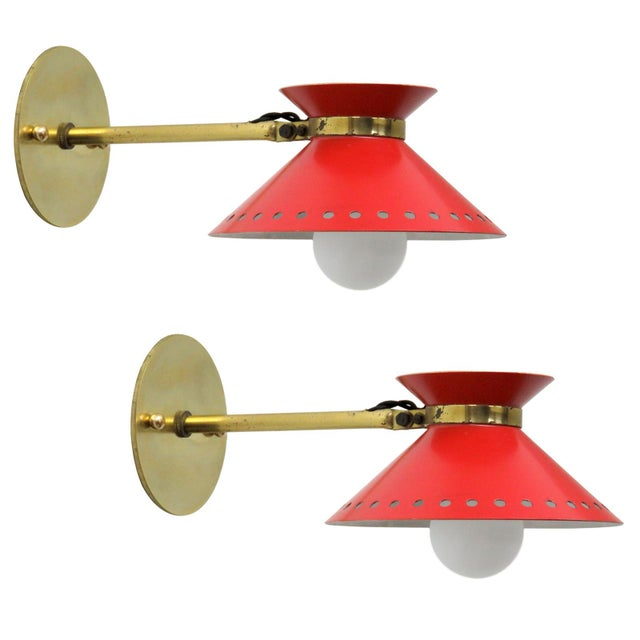 Pair of Red Arlus Wall Lights, 1950s For Sale - Image 11 of 11