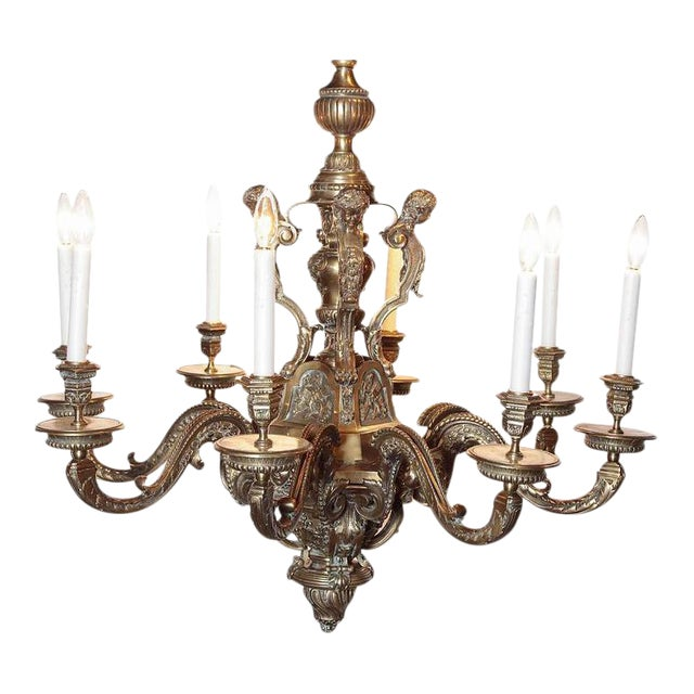 Ornate 19th Century French 8-Light Bronze Chandelier with Cherubs and Faces - Image 1 of 10