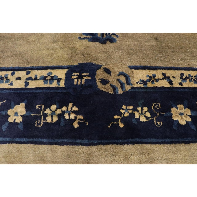 Early 20th Century Antique Chinese Peking Rug With Pagoda Design 08'03 X 09'07 For Sale - Image 4 of 10