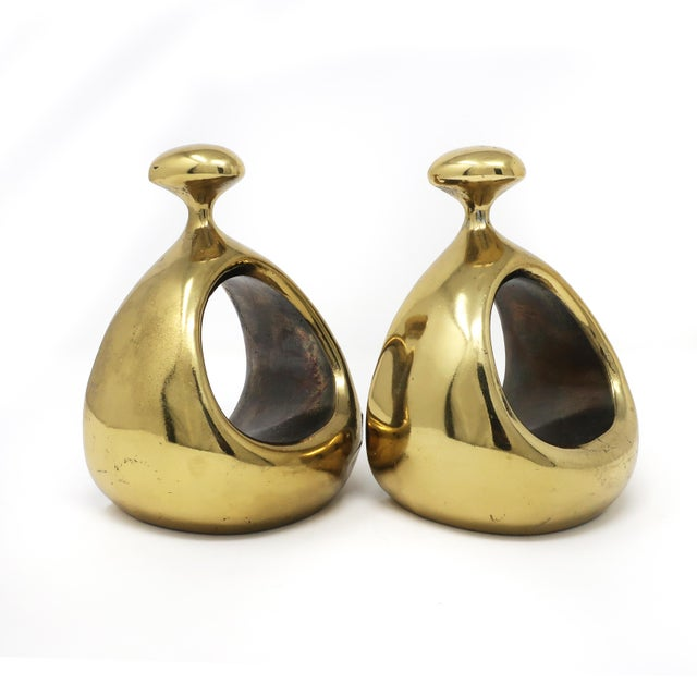 Mid-Century Modern Pair of Ben Seibel Brass Bookends For Sale - Image 3 of 10