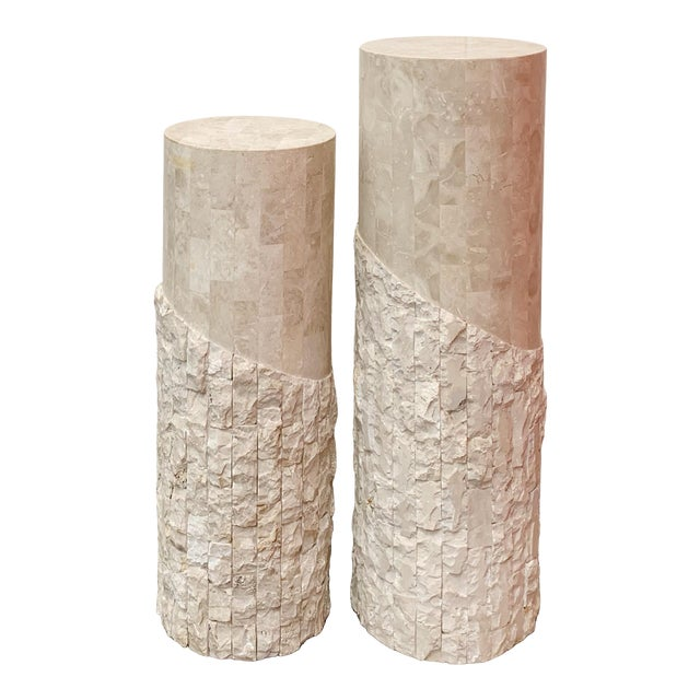 Late 20th Century Maitland Smith Tessellated Marble Over Wood Pedestals- a Pair For Sale