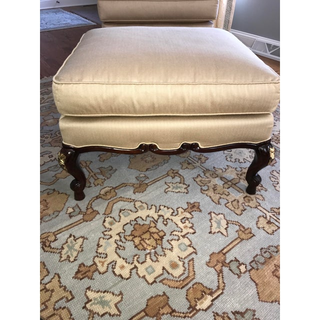 Fabric Century Furniture Chair & Ottoman With Floral Pillow - a Pair For Sale - Image 7 of 10