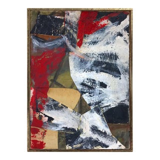 Vintage Abstract Mixed Media Painting on Canvas