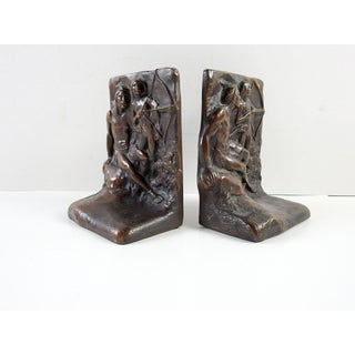 Bronze Native American Father & Son Bookends - a Pair Preview