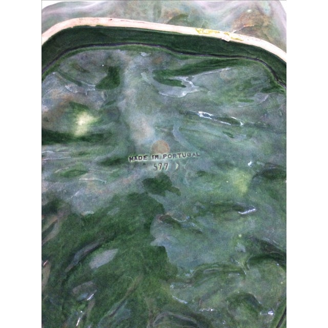 Early 20th Century Vintage Portugese Green Leaf Platter For Sale - Image 5 of 8