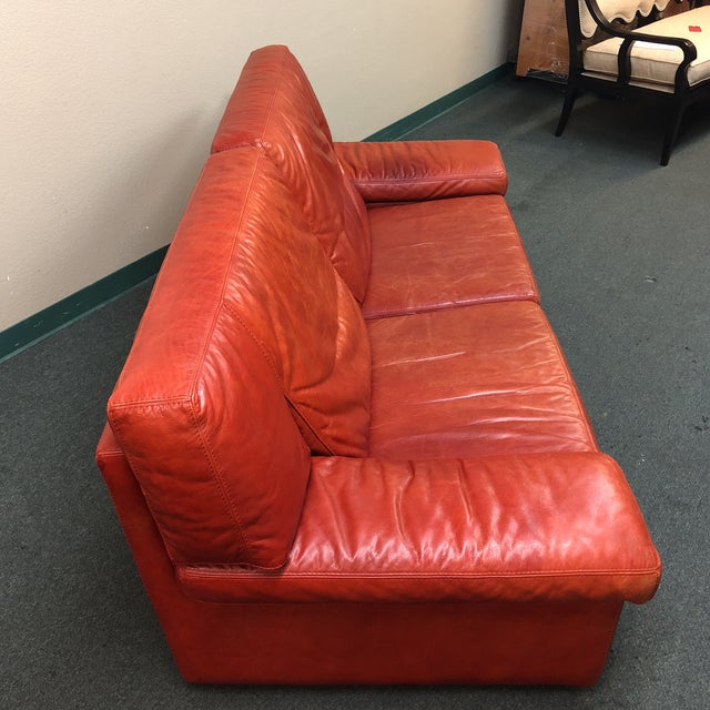 Contemporary Roche Bobois Vintage Red Leather Sofa For Sale - Image 3 of 10