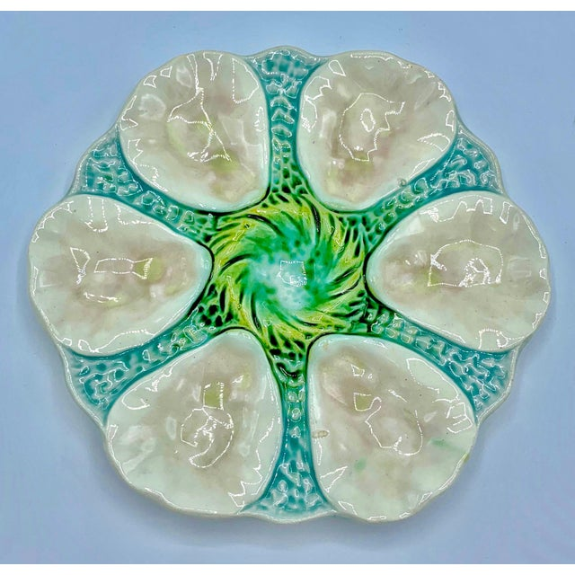 1900 - 1909 Antique Orchies French Majolica Pink Shell Oyster Plate, Circa 1900s For Sale - Image 5 of 6