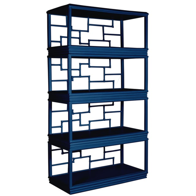 Wood Tibet Etagere - Navy Blue For Sale - Image 7 of 7