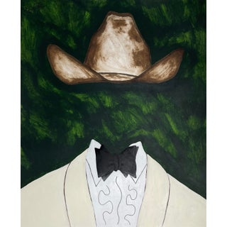 """Black Tie in Green"" Contemporary Surrealist Country Western Portrait Print"