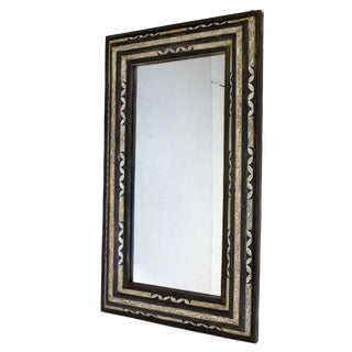 Moroccan White and Black Bone Inlay Mirror For Sale
