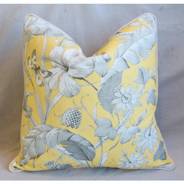 "Early 21st Century Designer English Floral & Nature Linen/Velvet Feather & Down Pillows 24"" Square - Pair For Sale - Image 5 of 13"
