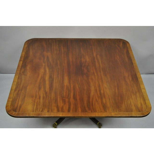 English Antique Square Banded Mahogany Duncan Phyfe Dining Conference Room Table For Sale - Image 3 of 13