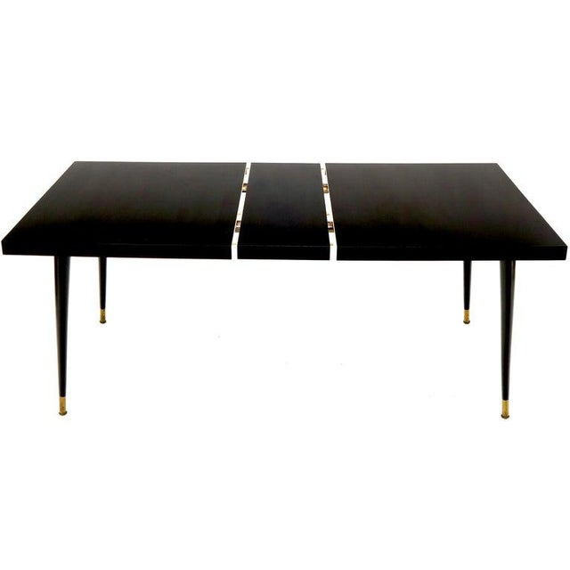 Mid 20th Century Black Laminate Tapered Dowel Legs Dining Table With Extension Board For Sale - Image 5 of 11
