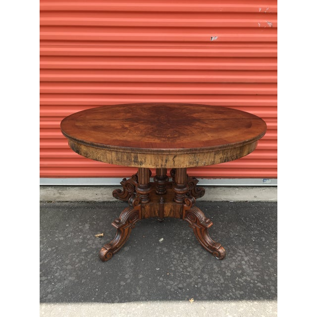 Mahogany Oval Carved Wood Side Table For Sale - Image 7 of 11