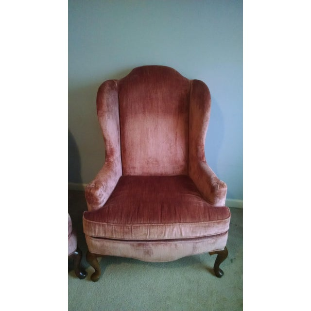 Sale Ending Soon!! Highland House of Hickory Queen Anne Rose Velvet Wingback  Chairs - - Sale Ending Soon!! Highland House Of Hickory Queen Anne Rose