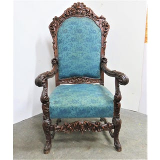 Late 19th Century Vintage Victorian Carved Walnut Throne Chair Preview