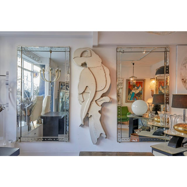 Italian Original Pair of Large Venetian Mirrors With Mirrored Borders For Sale - Image 3 of 6