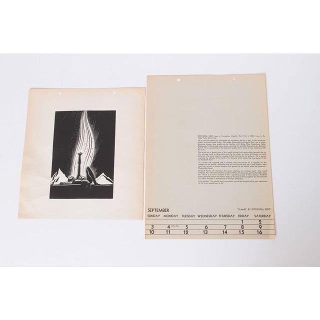 "Rockwell Kent Art Deco 1939 Rockwell Kent ""Flame"" Original Block Print Calendar For Sale - Image 4 of 11"