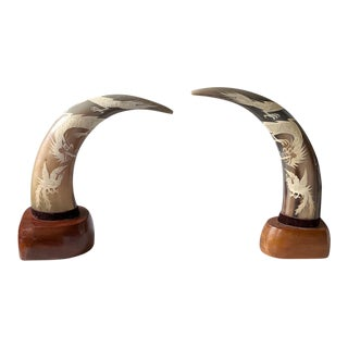 Pair, Mid Century Carved Horns on Bases For Sale