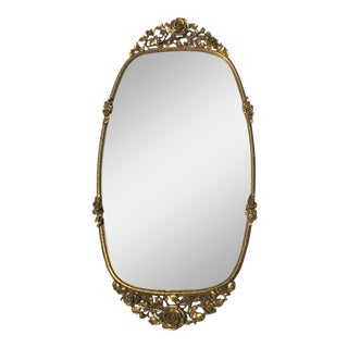 Antique Rose Accented Gold Mirror Tray