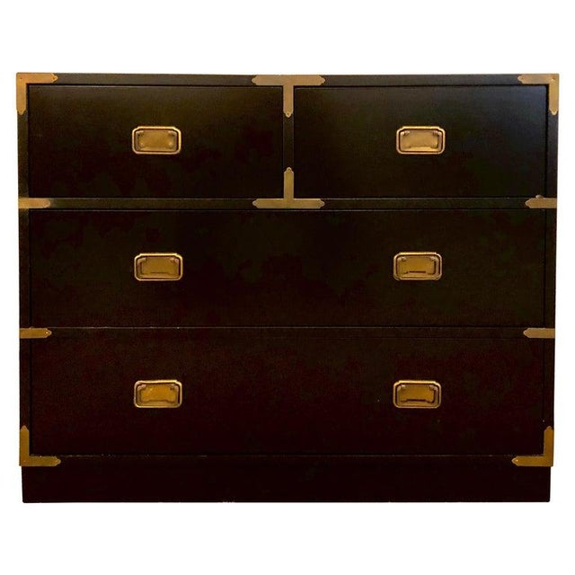 Campaign Style Ebony Chest / Dresser or Nightstand Attributed to Baker For Sale - Image 13 of 13