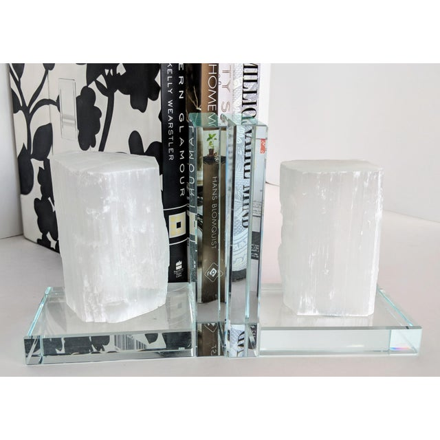 These set of two (2) lead crystal and selenite bookends combine modern and organic elements to create an absolutely...