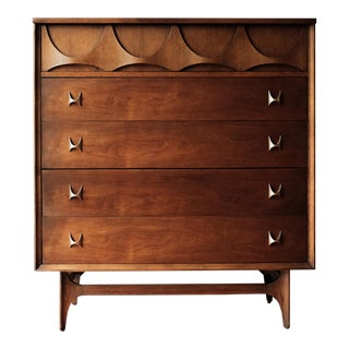 1960s Mid-Century Modern Broyhill Brasilia Dresser Walnut Highboy Dresser