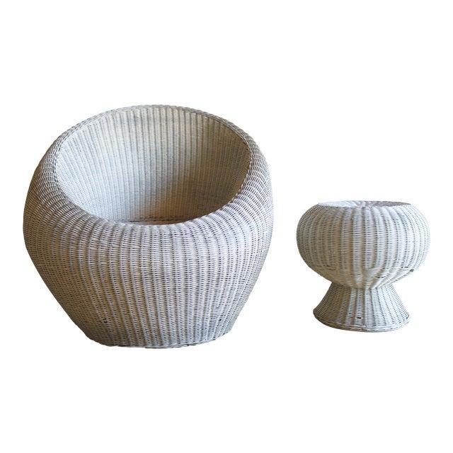 Isamu Kenmochi for Yamakawa Japan Rattan Lounge Chair & Side Table For Sale