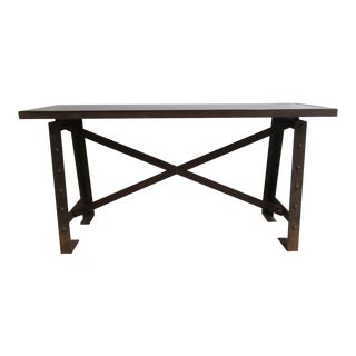 Vintage Industrial Rivet Steel Console Hall Foyer Table For Sale
