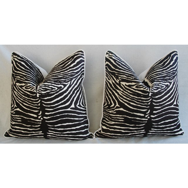 "23"" Custom Tailored Brunschwig & Fils Zebra Feather/Down Pillows - Pair For Sale In Los Angeles - Image 6 of 12"