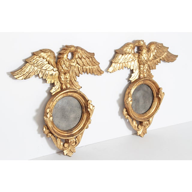 Giltwood Pair of Giltwood Mirrors With Eagles, Wings Outstretched For Sale - Image 7 of 13