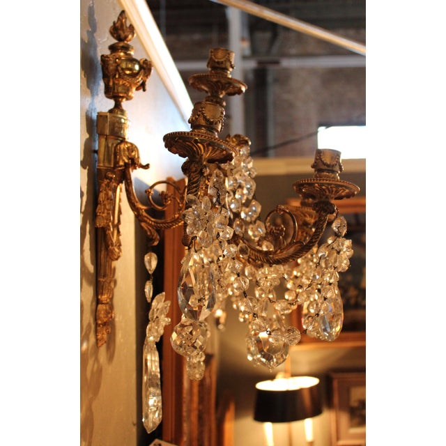 Antique French Bronze & Crystal Sconces - a Pair - Image 7 of 10