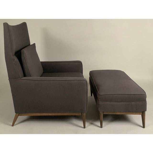 Textile 1950s Paul McCobb for Directional High Back Lounge Chair and Ottoman For Sale - Image 7 of 10