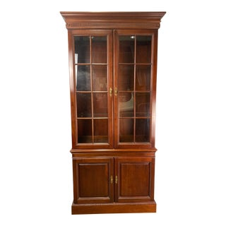 Vintage Wellington Hall Chippendale Style Mahogany Display Cabinet For Sale