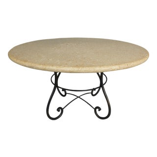 Cast Stone Dining Table W/ Iron Base