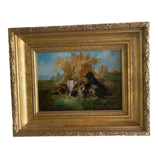 Late 19th Century Portrait of Resting Hunting Dogs Oil Painting, Framed For Sale