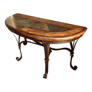 20th Century Tuscan Heavy Wooden and Steel Console For Sale