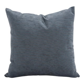 "Blue Texture Stripe 20"" Square Pillow For Sale"