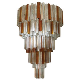 Italian Murano Triedri Glass Crystals Chandelier by Venini For Sale