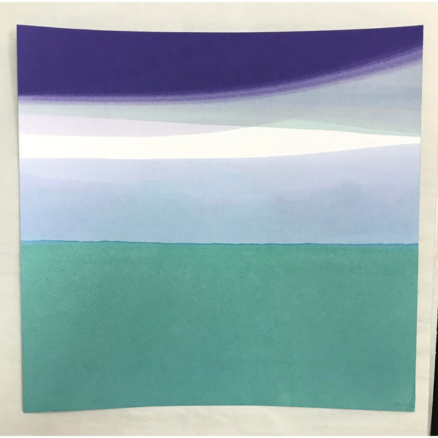 """Original Watermark by Wendy Briggs Powell. 18"""" x 18"""". Crane letterpress paper saturated in dyed water. Matted and floated..."""