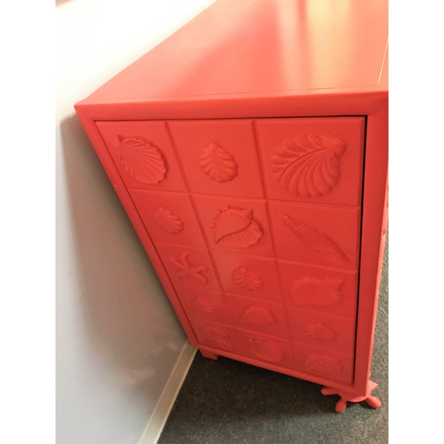 Boho Chic Custom Made Shell Motif Television Cabinet For Sale - Image 3 of 11