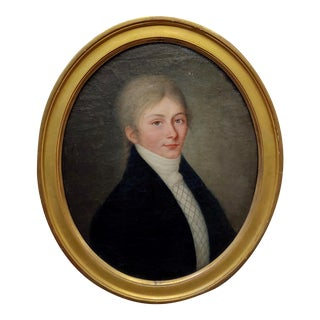 18th Century Portrait of a Young Aristocratic Man with Blue Eyes-Oil Painting For Sale