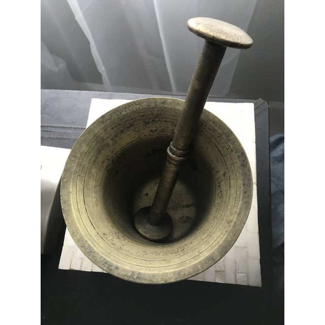 Vintage Early 1900's Hand Hammered European Brass Mortar and Pestle - Image 2 of 4