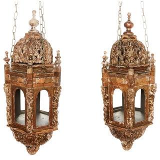 18th Century Italian Giltwood Lanterns - a Pair For Sale