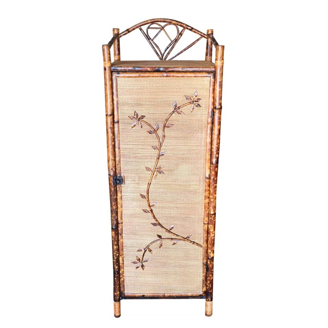 1900 - 1909 Restored Aesthetic Movement Tiger Bamboo Linen Cabinet With Rice Mat Covering For Sale - Image 5 of 8
