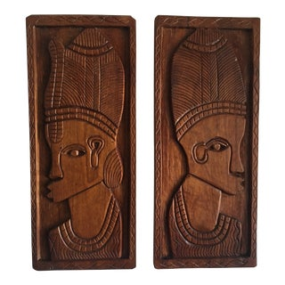 Vintage Tribal African Relief Wood Carvings - a Pair For Sale