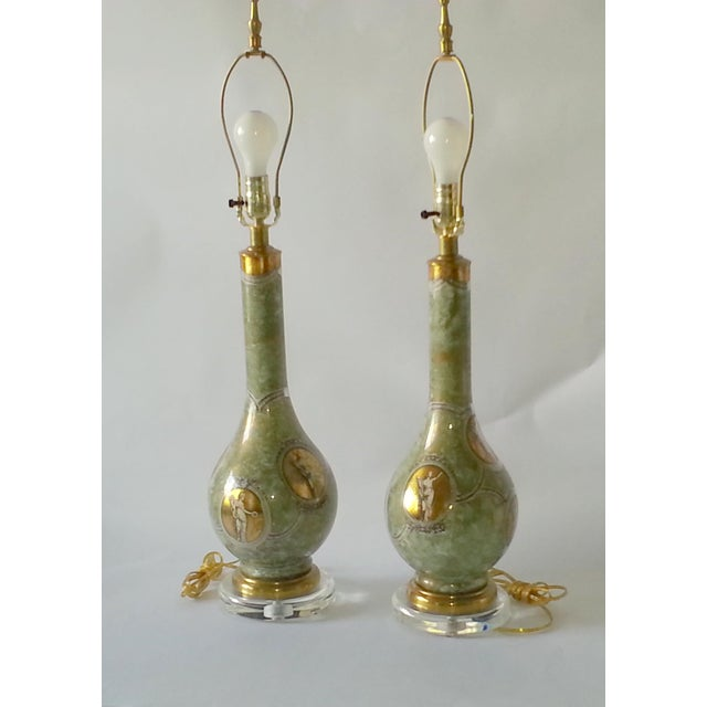 Mid-Century Table Lamps Eglomise Style - Image 2 of 11