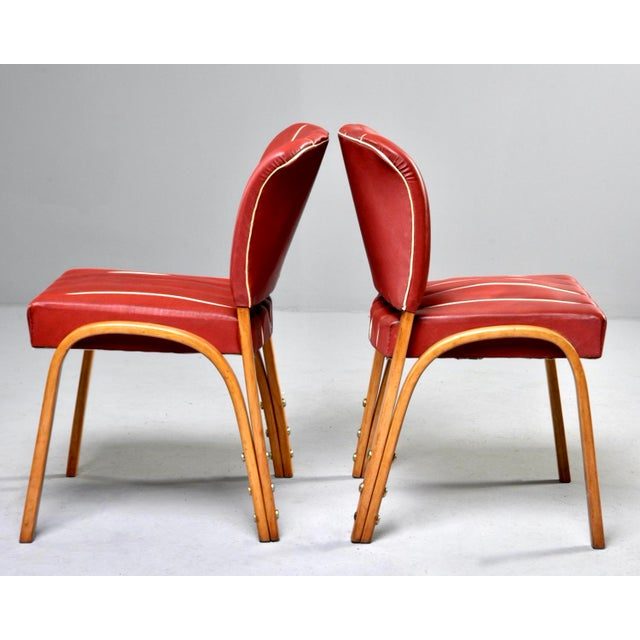 Italian Mid Century Bentwood Dining Chairs With Original Red Vinyl Upholstery - Set of 6 For Sale In Detroit - Image 6 of 13