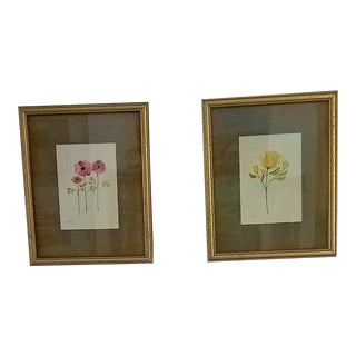 Watercolors by Christine Frisbee Matted and Framed 22 X 28 - a Pair For Sale